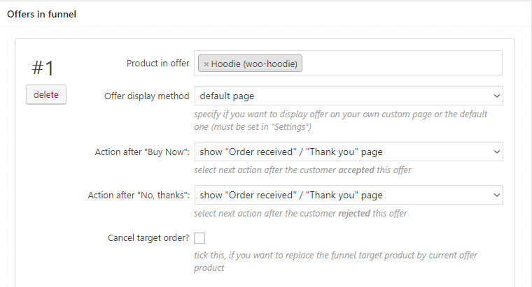 select upsell product for woocommerce funnel