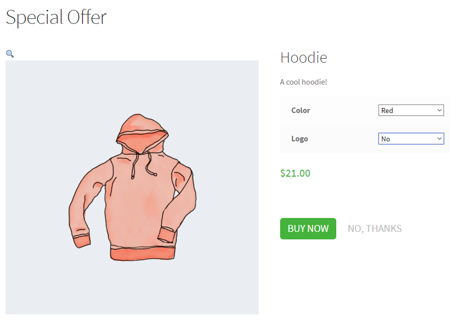 woocommerce upsell downsell offer page