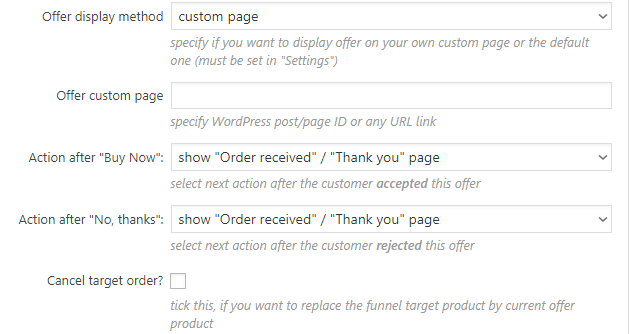 Custom One Click Upsells Offer Options