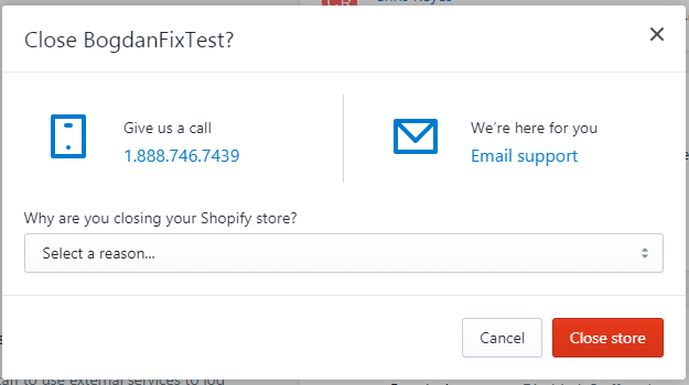 cancel shopify woocommerce - confirm closing your store and pick the reason