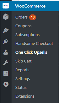One Click Upsell After Checkout WooCommerce Menu