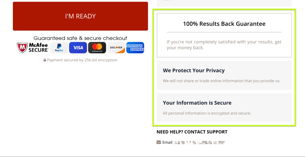 Trust points in sidebar of Handsome Checkout page Woocommerce