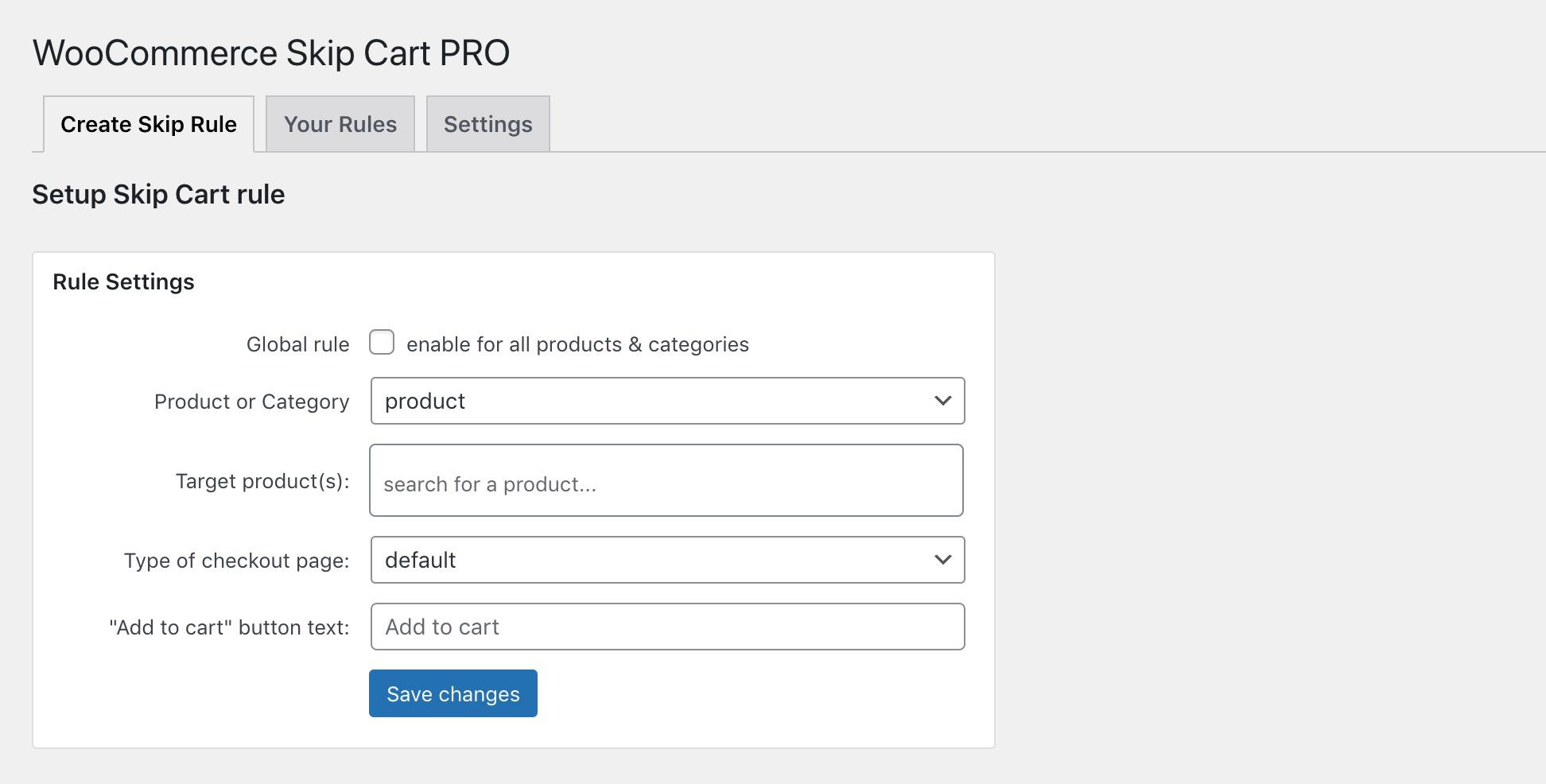 Skip Cart for WooCommerce Admin UI by HandsomeWP